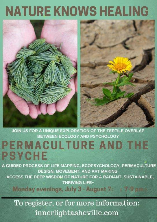 "Come learn ecological principles that compost problems into solutions, plan a life that nurtures you by design, and prune away what holds you back.  We will apply the tried-and-tested ecological principles of permaculture design to the thorny struggles that we face daily: Where did all my time go? When do I get to live my wild and important dreams? How do I discover and serve my purpose in this world? Why do I feel exhausted and worn thin instead of juicy and delighted? Who is my tribe? What can I do to engage in life in a way that honors my full potential?  Week 1:  Everything Gardens:  We look at the deep importance of observing the existing system before creating a design. We learn techniques of observation and the paired-opposite method for soothing and evaluating the self. We begin to take record of the patterns in our thoughts and behaviors.  Week 2:  Stacking Functions:  We learn how to apply principles of elegant design to our lives to ensure that all of our needs are met in the simplest way possible. We go through artistic process to discern these needs and plan ways of meeting them.  Week 3:  Least Effort for Greatest Effect:  We troubleshoot our designs using the observation data we've taken to learn what we can NOT DO to make our lives easier. Where are we overworking, overfunctioning, overthinking? We use lifemapping to find the sweet spot in our individual lives where input of time, energy, and money has the greatest effect.  Week 4:  The Problem is the Solution:  We take off the rose-colored glasses and dive into our complaints and shadows. What are the consistent, persistent problems that we face, and how are they masking our hidden desires? We learn how problems are our greatest asset for creating the life of our dreams, and learn a technique for transforming even the most aggressive problem into a solution.  Week 5:  Guilding the Garden:  We learn that no plant or animal survives on its own; every element in a system is reliant on its community, its ecology, to get its needs met. We broaden our life maps to look at our personal ecologies and see where we can offer more and where we need to receive. We look at the importance of activism and community engagement and practice techniques of closed-loop resourcing.  Week 6:  Zone 5, the wilderness:  We talk about the importance of sacred time and wilderness, and learn ways of incorporating wilderness into our daily lives. We practice dream interpretation, sacred circle dance, meditation, and pleasure drifting. We review all 6 principles and present our life designs for feedback and review. We choose accountability partners for bringing our plans to fruition.   This six-week gathering will dive deep into the fertile area where ecology and psychology overlap. All sessions will include meditation, movement, and art-making.    Tea, herbal delicacies, and art supplies will be provided.     $200 for 6-week session   ""My experience in permaculture of the psyche was so exquisitely rich. I participated in this course during a time of great transition and unrest in my life and it enabled me to walk away grounded, while at the same time lighter and refreshed. The depth of knowledge that Lissa Carter possesses is inspiring. She shares so fully without overwhelming her audience. And the embodiment of her craft is evident. She takes complex mental concepts and weaves them into simple everyday practices. She makes the exploration of self an absolute joy. She creatively transmutes darkness into light. I felt so completely held and honored during these classes. This woman is a true genius of healing love.""  — Briana Anderson, MA"