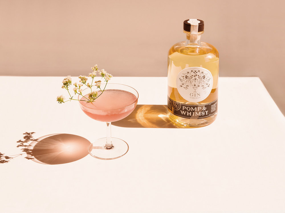 HORIZONTAL TEST   A  celebratíf  to share with a circle of your closest friends!  1  oz  Pomp & Whimsy 1  oz  vodka   Pre-chill or shake the ingredients with ice.    Strain into a cordial glass.    Garnish with an edible flower.