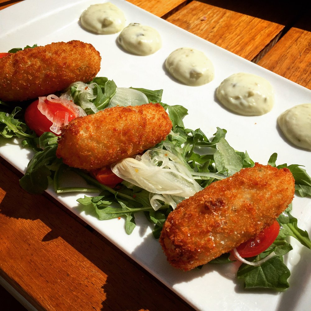 Smoked local fish croquettes with spiced tartar sauce