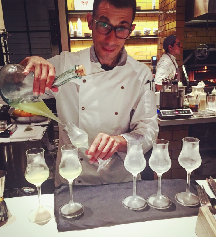 """Preparing the cocktail pairing for our crab dish,""""Aceite de Manaznilla"""", which consisted of gin, dry sherry and lemon"""