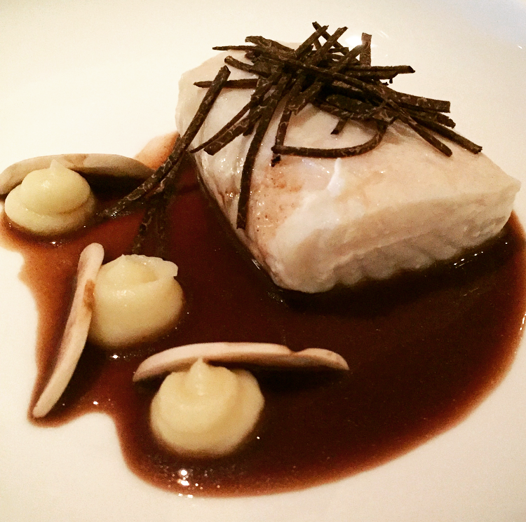 Thomas Seifried's poached halibut, truffle & red wine ginger jus.  This dish was simply beautiful!