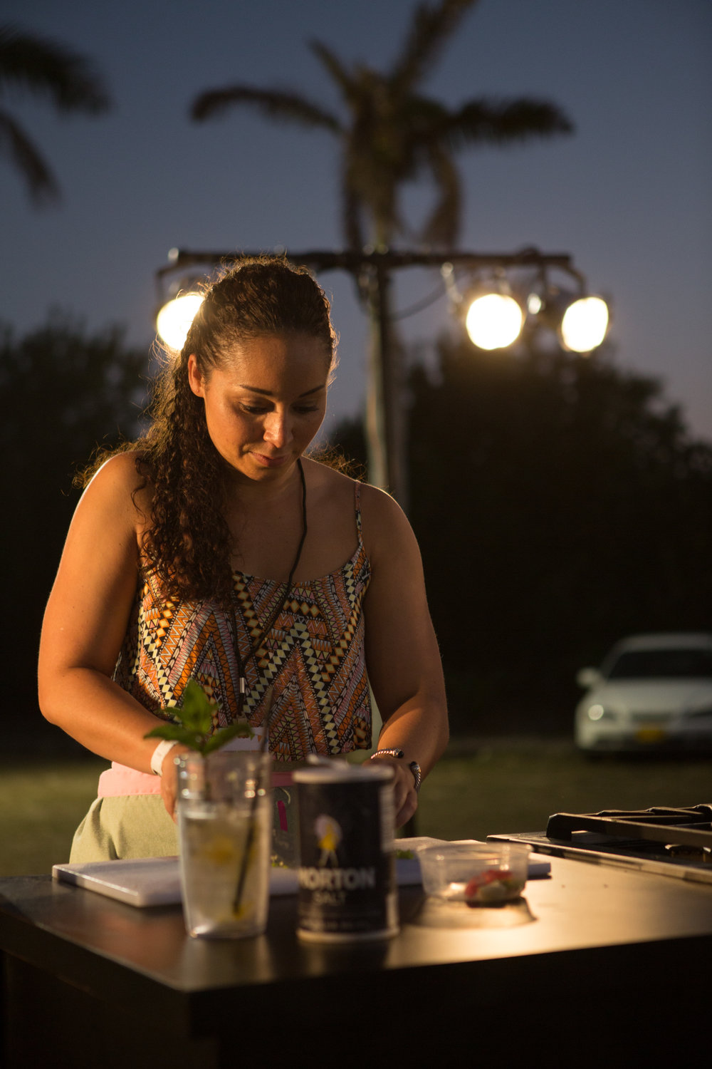 Doing my menial sous chef task of chopping garlic and seasoning peppers  Photo credit: Chad Munro of Picture This Studios