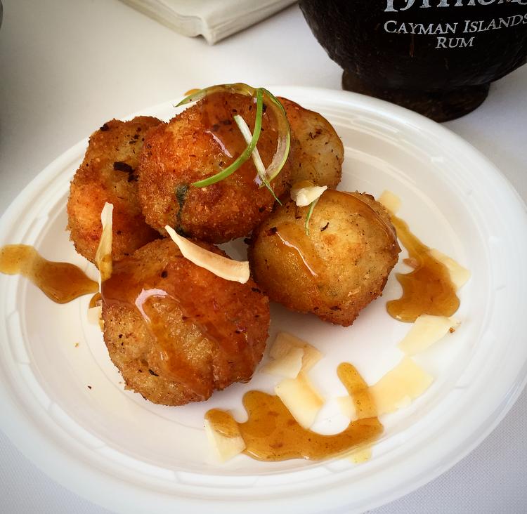 Chef Jolene of  Nyamaste  created a coconut shrimp fritter with mango scotch bonnet sauce