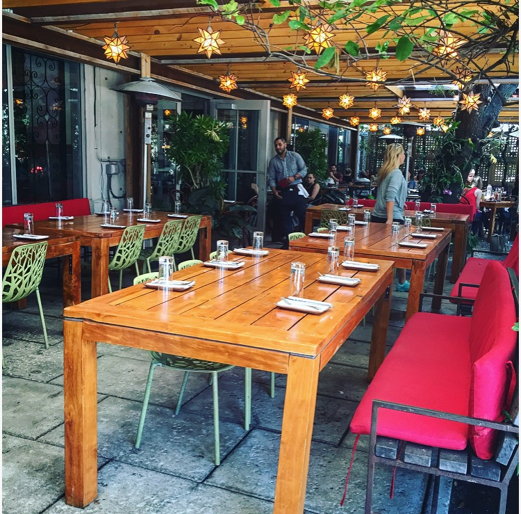 Covered dining on the front patio.hierloo
