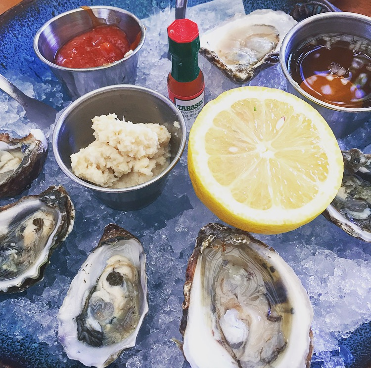 East and West coast oysters served with horseradish, lemon, Tabasco and mignonette.
