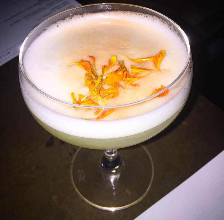 The Nightingale Sour: Peach infused absolut vodka, lillet blanc, galliano and lemon.