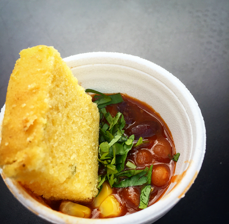 Smokie's vegetarian chili with a side of corn bread.They definitely stood by their name with this dish!