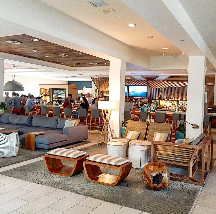 The bar & lounge area at A&D as soon as you walk into the Marriott Beach Resort lobby
