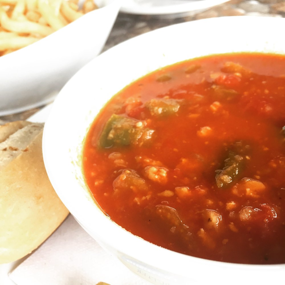 A hearty Red Conch Chowder and one of my favourite versions on island