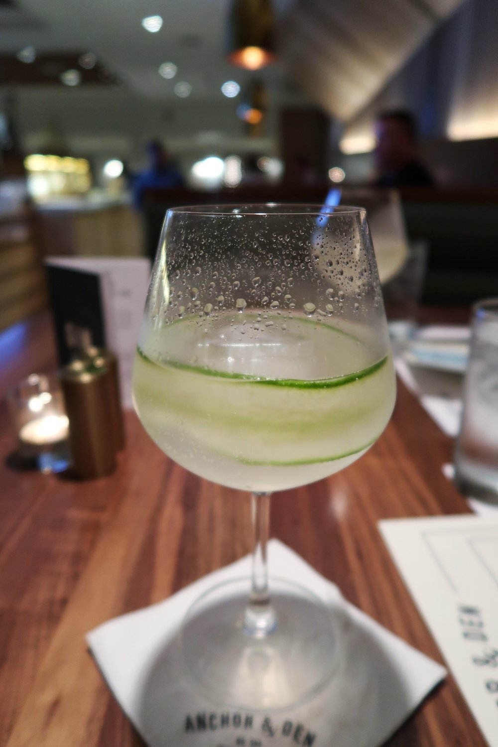 London Green & Tonic - simple and refreshing blend of Tanqueray, tonic water, fresh lime juice, mint & cucumber