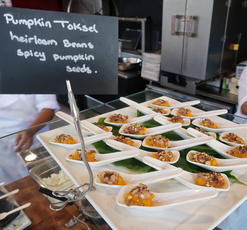 Pumpkin Toksel with heirloom beans and spicy pumpkin seeds