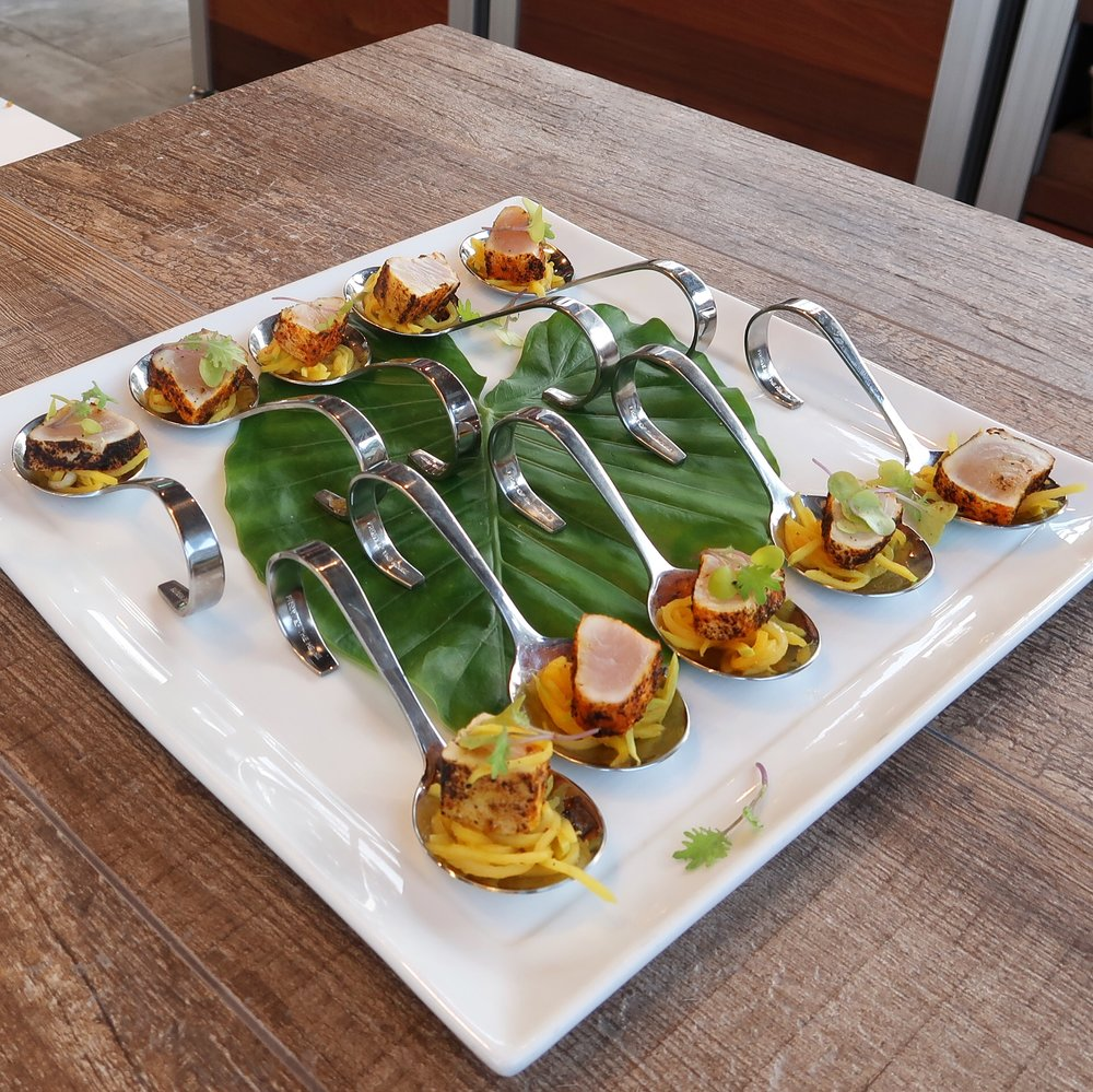 Seared Wahoo with green mango and a spicedhoney agrodolce