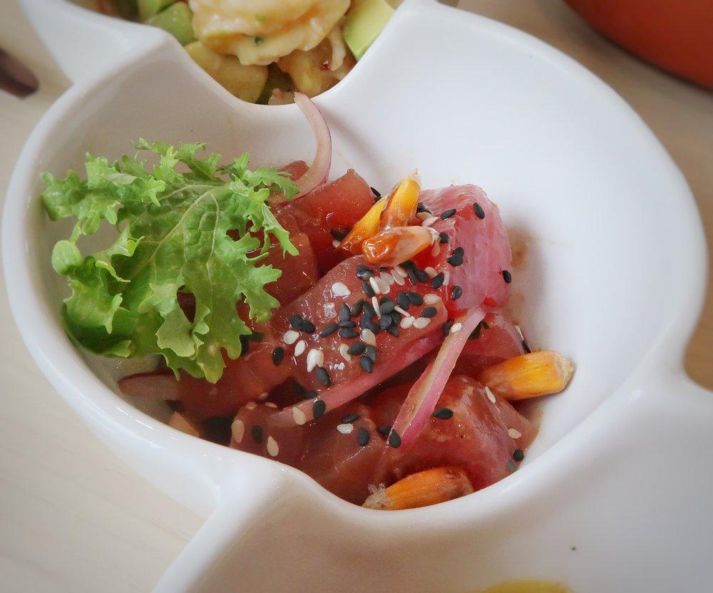 The Nikkei ceviche is loaded with fresh tuna, yuzu, tamarind, soy, cilantro & cancha.