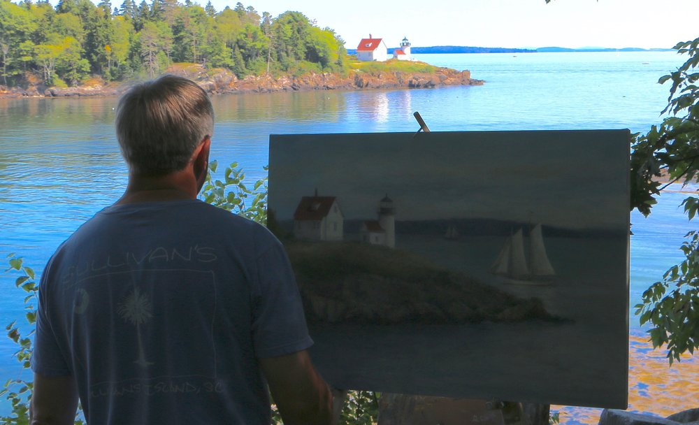 Mark Daly Painting Curtis Island, Maine