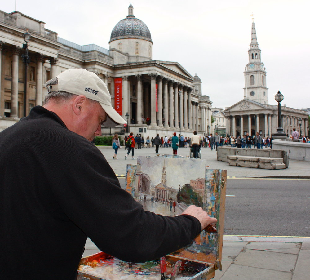 Mark Daly Painting Trafagar Square, UK