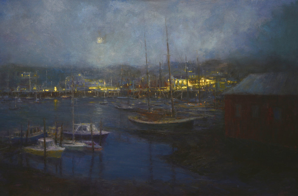 "Harbor Lights, Camden, oil, 24"" x 36"""