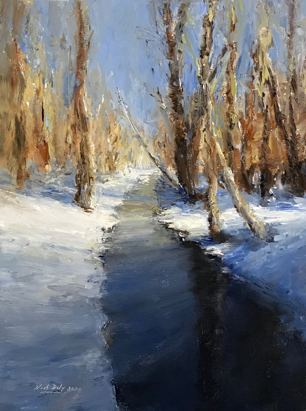 "Snowy Shadows, Oil on linen, 12"" x 9."" Signed lower left by Mark Daly. Available at Castle Gallery."