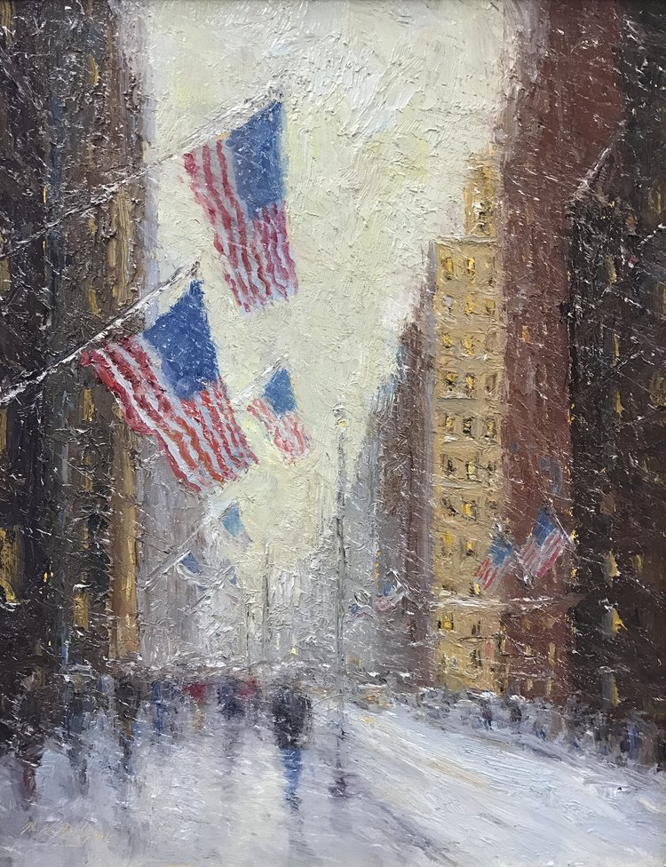 Mark Daly's New York Winter Flags, Oil, 18 x 14. Sold by Rehs Galleries.