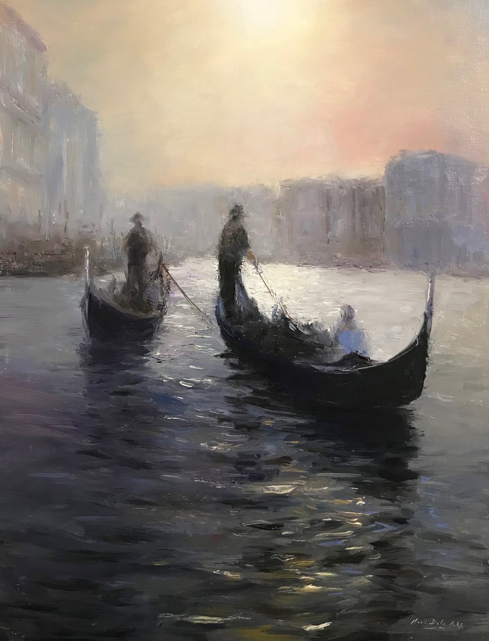 Impressions, Venice Sunset, oil, 16 x 12. Signed lower right by Mark Daly. Available at Rehs Galleries.