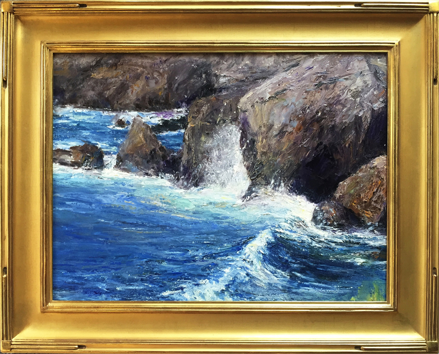 The Wave, Point Lobos, oil, 18 x 24. SLL by Mark Daly. Available at Cincinnati Art Galleries.