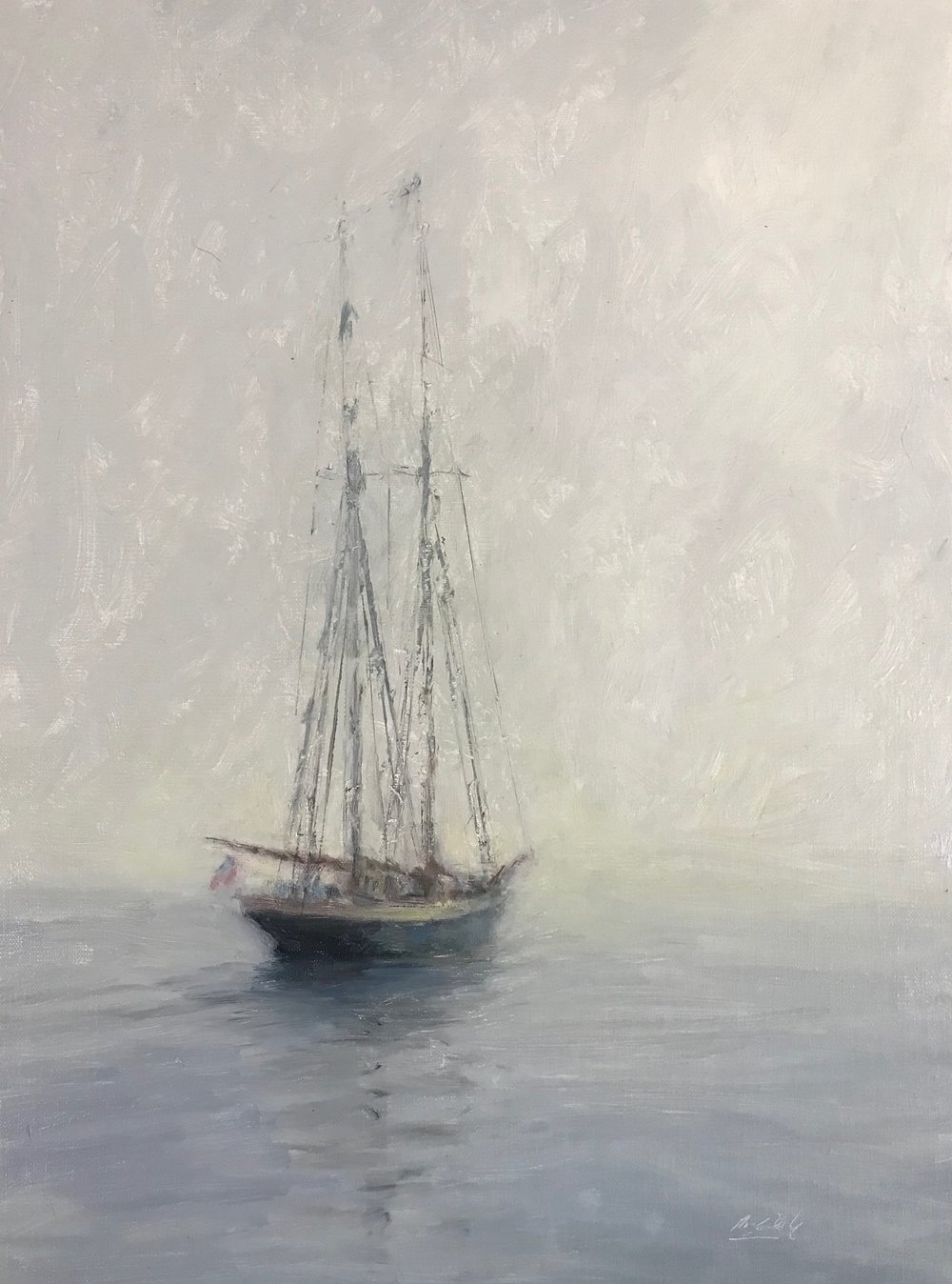 Fog Bound, oil, 16 x 12, SLR by Mark Daly. Sold by Cincinnati Art Galleries.