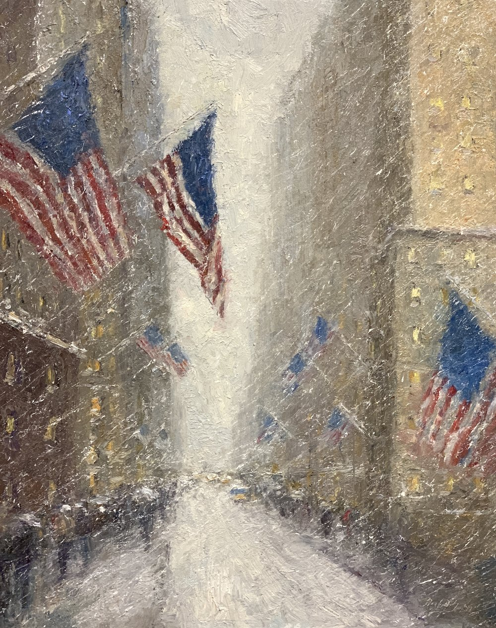 Manhattan Flags by Mark Daly, oil, 20 x 16. Available at Rehs Galleries.