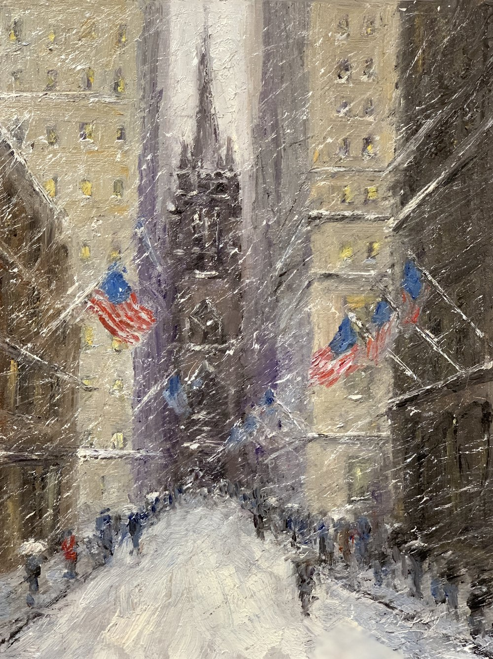 Old Trinity Flags, oil, 12 x 9, SLR by Mark Daly. Sold by Rehs Galleries.