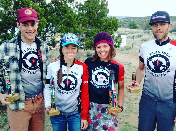 FBR Racers after the Zia Rides Dawn til Dusk in Gallup New Mexico. From Left: Alex Leonard (Viceroy), Erin Osborne (Racer), Chase Edwards (Racer), Matt Pacheco (Viceroy).