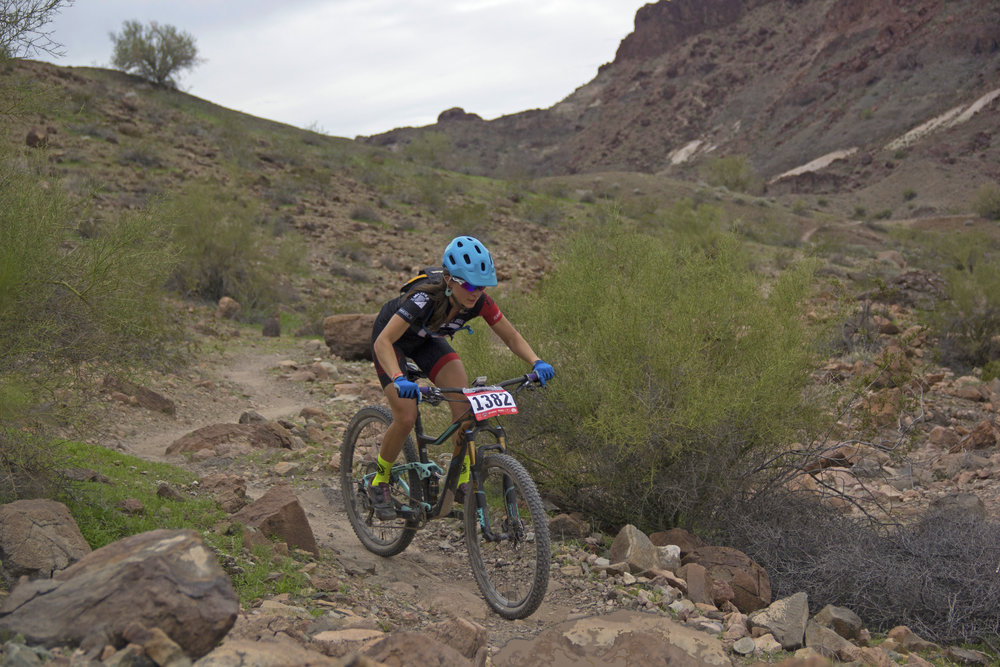 Erin Osborne pushing the pace in the women's open. Photo by Scott Countryman.