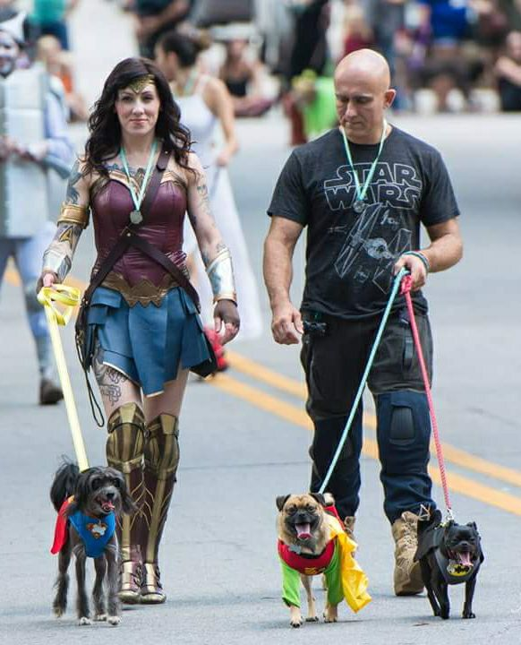 Sara, aka Wonder Woman, at Boo-le-Bark's 2017 Halloween parade.