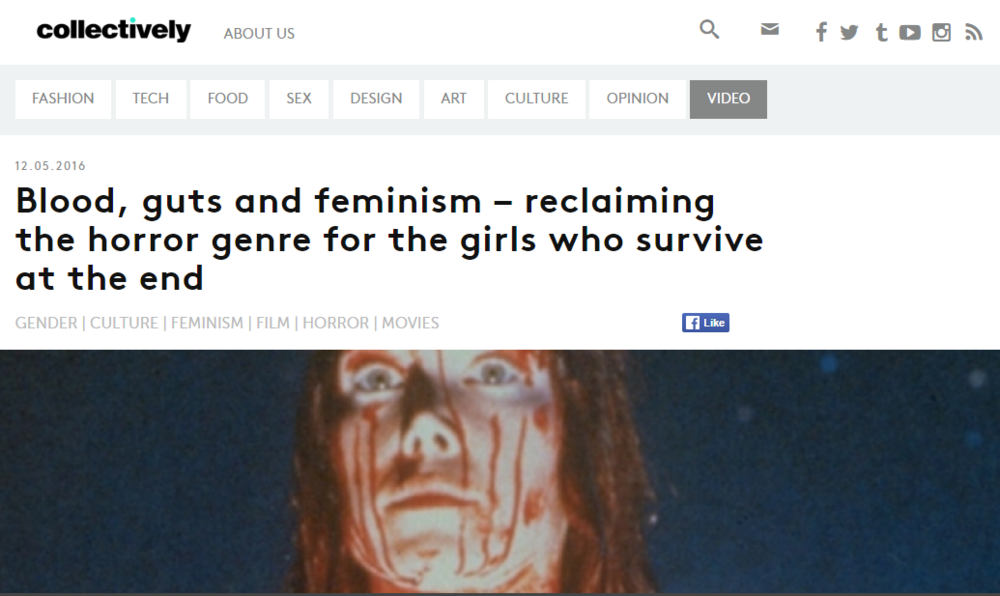 'Blood, guts and feminism – reclaiming the horror genre for the girls who survive at the end'  - interview with Collectively