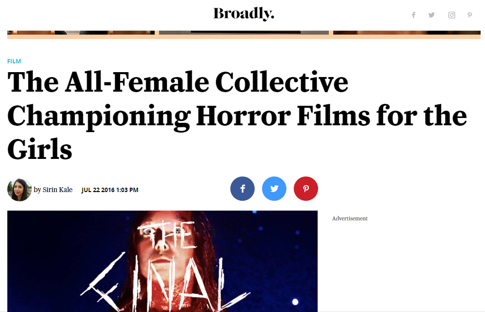 'The All-Female Collective Championing Horror Films for the Girls'  - Interview with Broadly