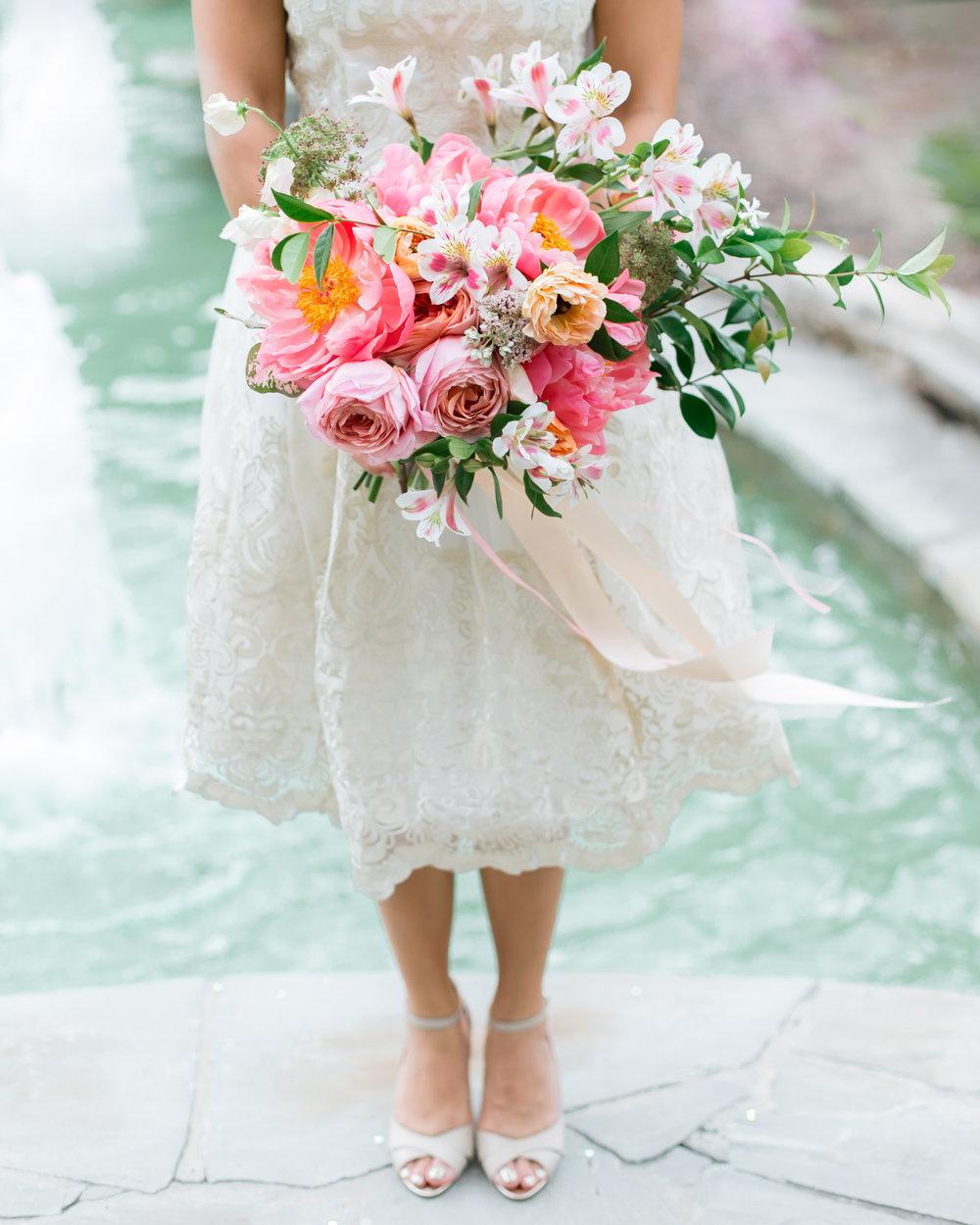 bridal bouquet - seasonal blooms, lush greenery, satin ribbon (upgrade to silk +$50)large: $250medium: $200