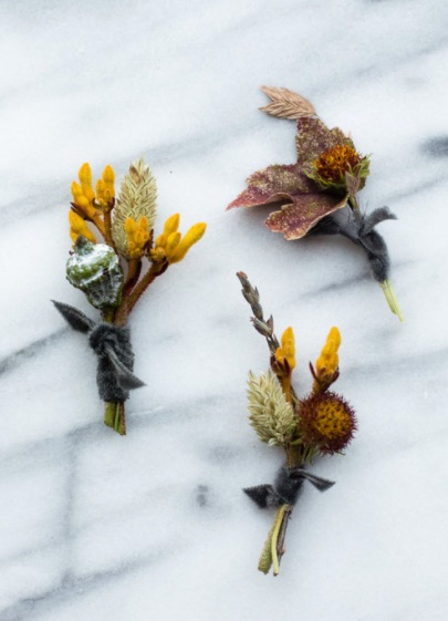 boutonniere  - seasonal textures/pods or blooms + greenery & ribbongroom - $35other - $25
