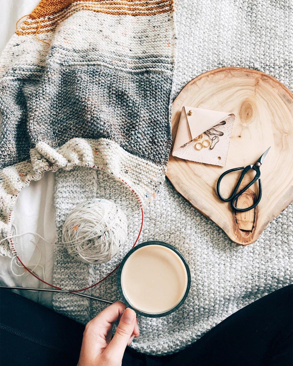 Yarn : Madelinetosh TOSH Light in Calligraphy, Gold Rush, and Modern Fair Isle  Pattern : Sneffels Shawl (original, coming soon!)