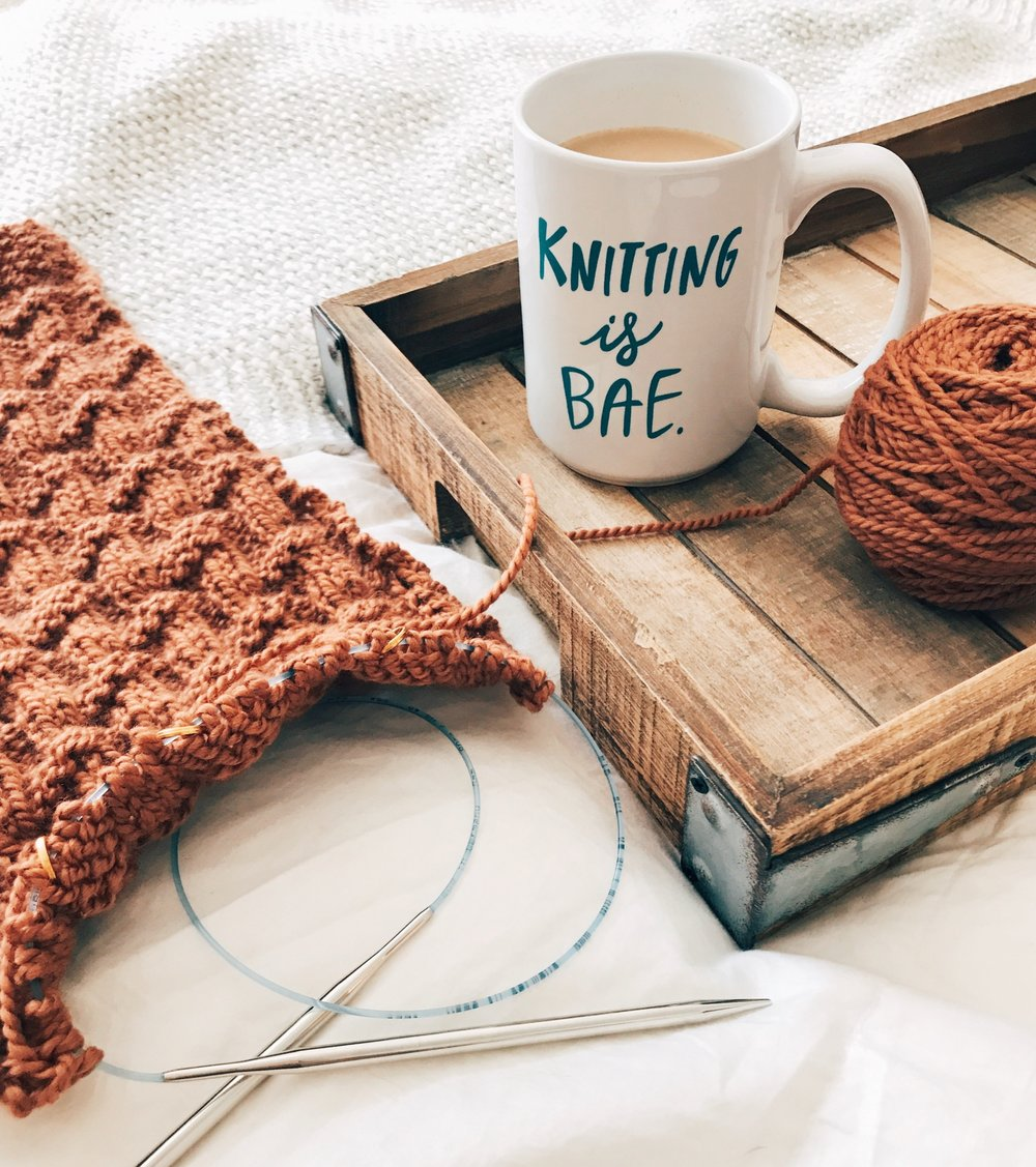 Yarn:  Purl Soho Worsted Twist in Copper Penny  Pattern:  Bonfire Scarf (original, forthcoming) Mug from TL Yarn Crafts!