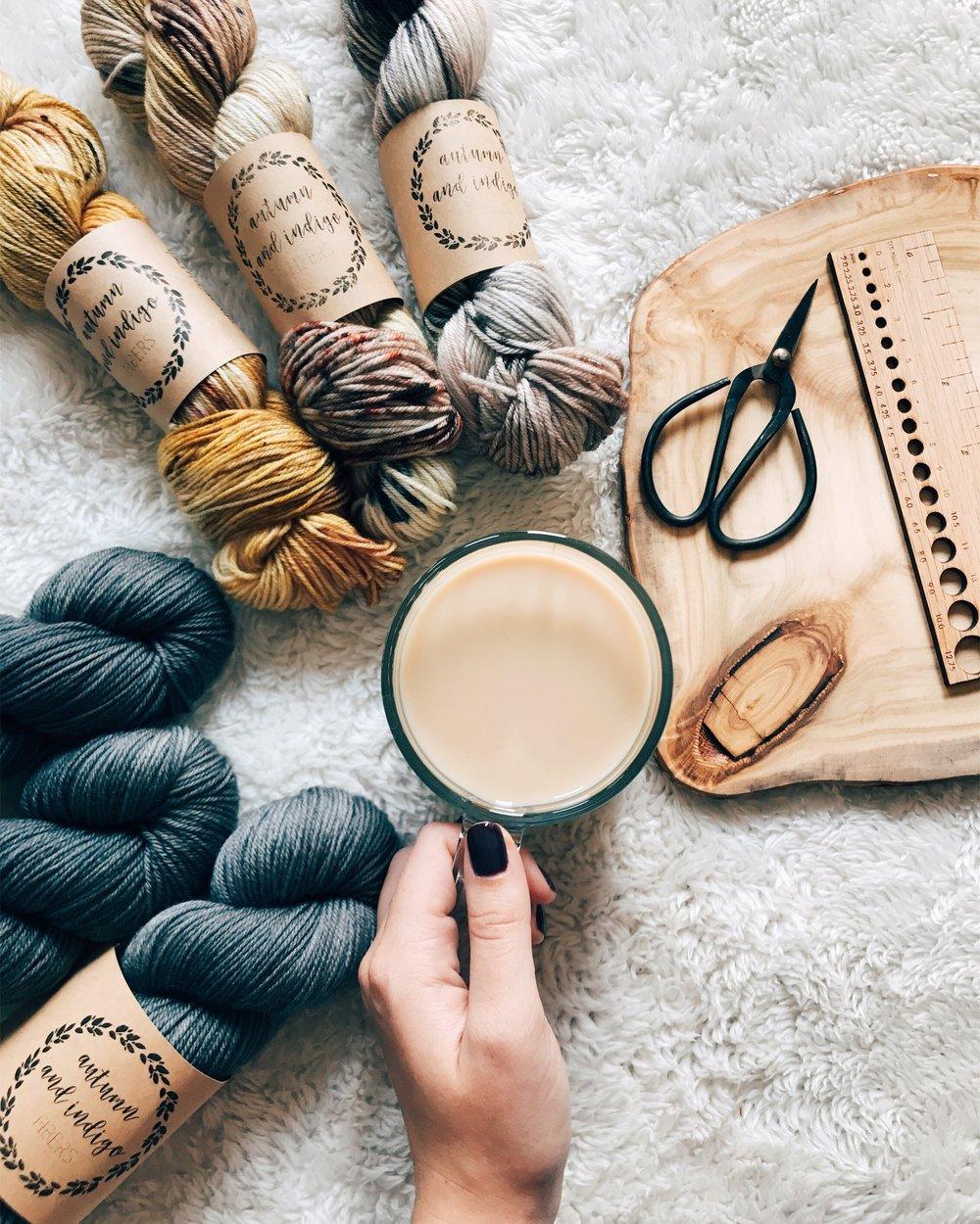 Yarn : Autumn and Indigo Sport in Gold Rush, Sepia, Mushroom, and Midnight Grey