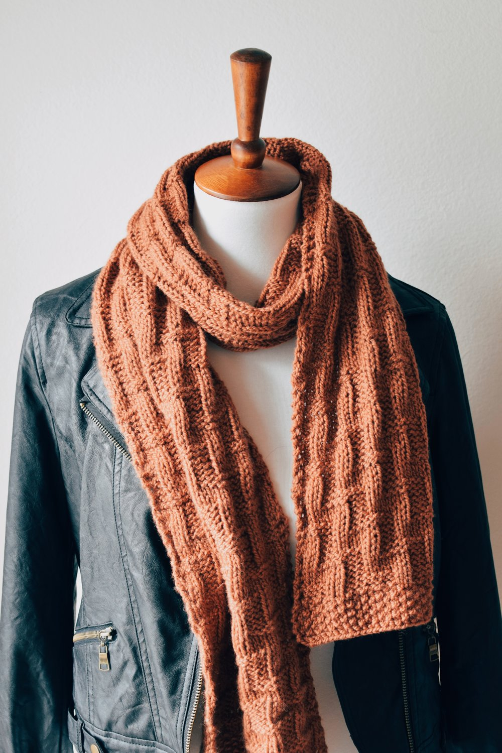 Barb is bundled up in the Bonfire Scarf.  Pattern  available in my shop!
