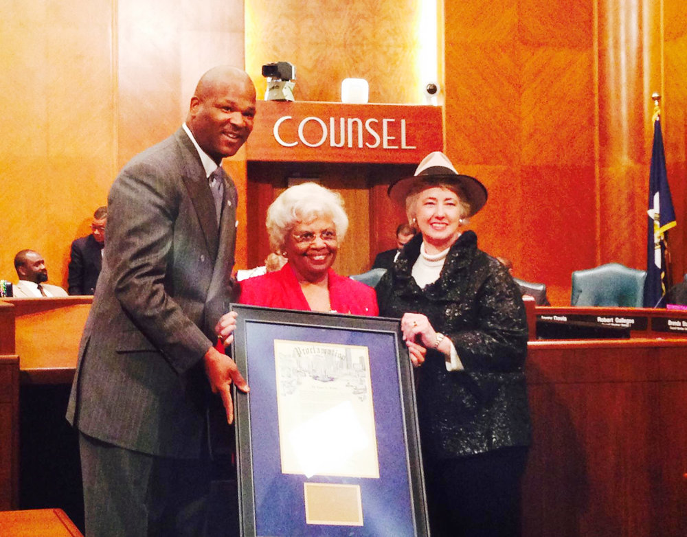 Mayor Anise Parker and Councilman Dwight Boykins dedicate March 4, 2014 in the City of Houston as Grace L. Butler, PhD Day.