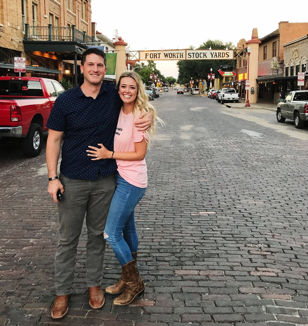 The day Dylan & moved to Fort Worth outside of H3 in the Fort Worth Stockyards