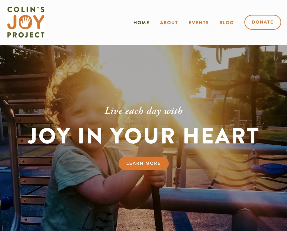 The website my team and I created for Colin's Joy Project