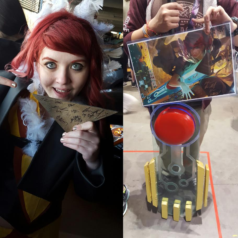 Where the devs signed my Transistor and the poster they gave me! This also shows the first iteration of the foam pieces on the transistor, which I later replaced with resin or re-painted and smoothed down some more!