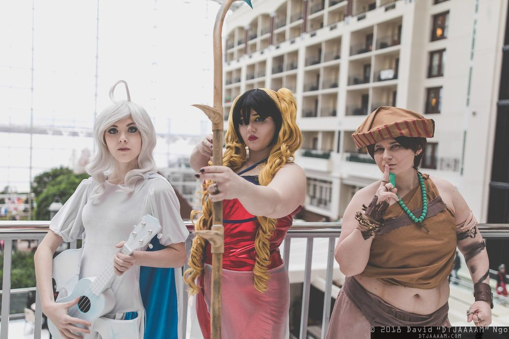 Blue Eyes White Dragon Bard, Insect Queen Ranger, and Exodia Monk,  a Dungeons & Dragons/Yugioh crossover. Costumes designed by me. Bard and ranger made by me. Photo by   D  avid Ngo