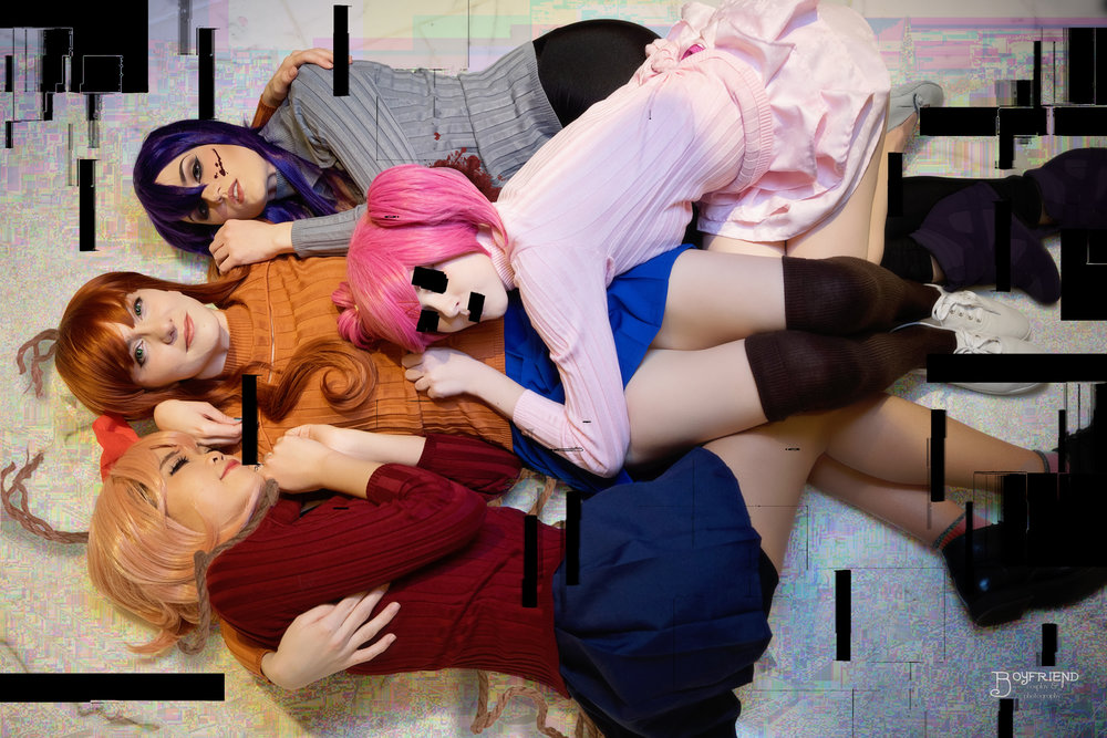 Yuri, Monika, Natsuki, and Sayori,  from Doki Doki Literature Club. Yuri is  Midge Scully , Sayori is  Yeriyeri Cos , Natsuki is me. Photo by  Boyfriend Cosplay  & Photography