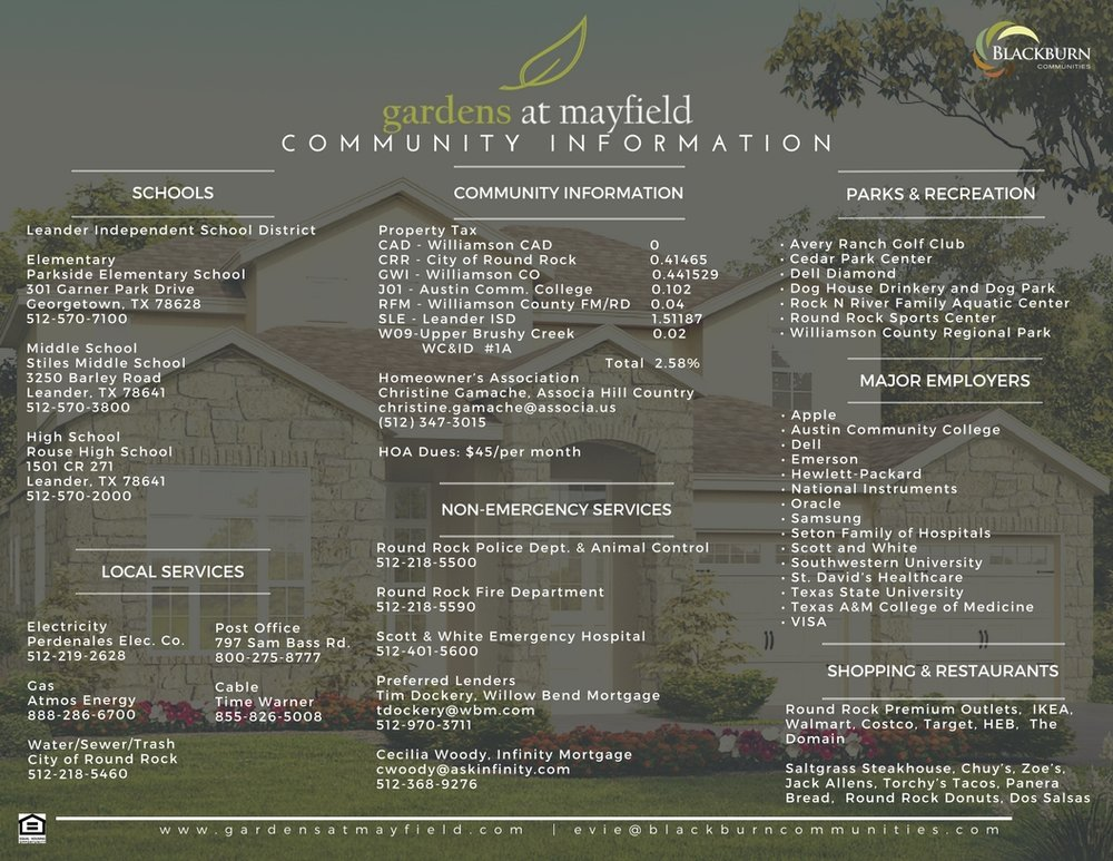 Gardens at Mayfield Community Information Sheet