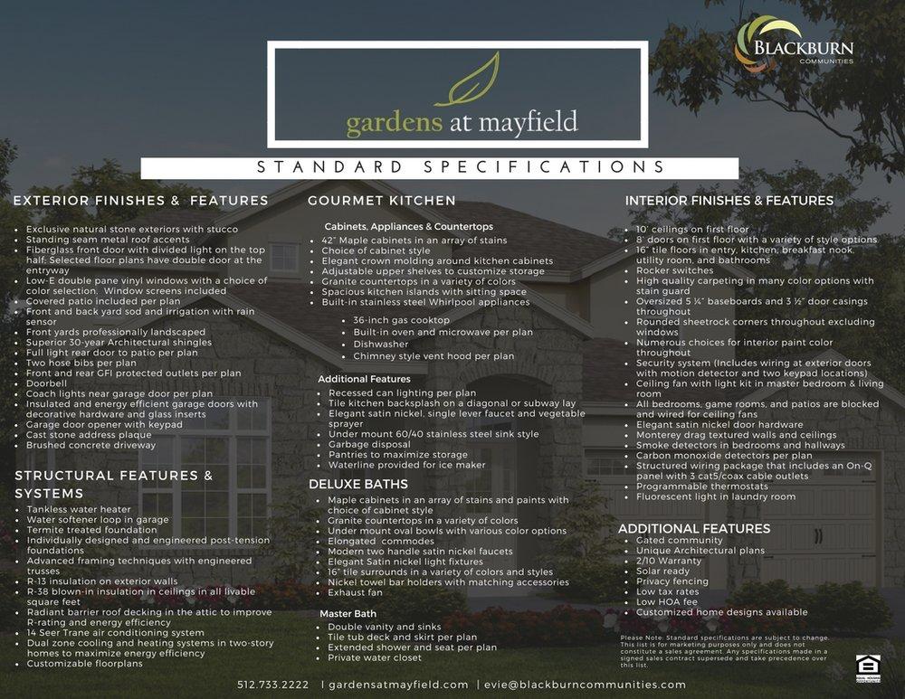 Standard Spec Sheet - Where Luxury is Standard