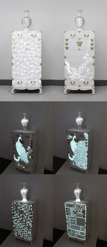 김혜경, Media Bowha(寶貨/a treasure), 2015, Real-Time Interactive Projection Mapping Installation, wood, crystal, ceramic, Korean traditional metalwork for joinery (Jangseok), 120cm X 42cm X 35cm. Courtesy of the artist.
