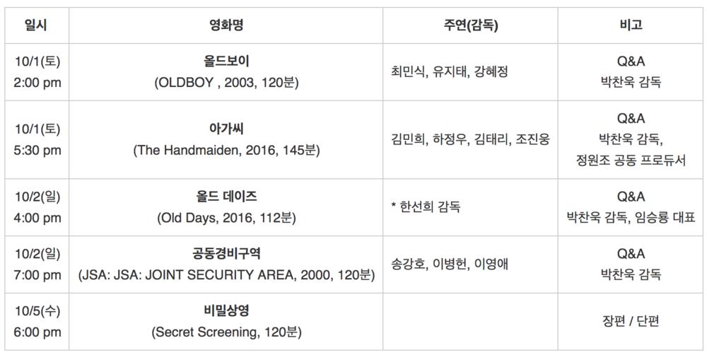 """""""한국영화의밤:마스터시리즈-박찬욱감독특별전""""일정표"""