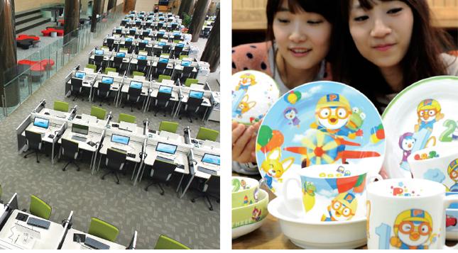 1. 국립중앙도서관 디지털 열람실  - 디지털도서관이 보유하고 있는 막대한 양의 디지털자료 열람과 이를 활용한 미디어 편집, 문서작성, 연구 등 다양한 작업을 동시에 수행할 수 있는 공간이다.  2. 뽀로로  - 한국의 대표적 유아용 캐릭터 '뽀로로'는 교육용 애니메이션과 캐릭터를 이용한 다양한 상품 등을 선보이며 미래 문화산업의 큰 흐름을 주도하고 있다