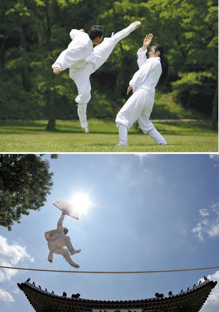 1. 택견 - 유연한 몸동작으로 상대방을 제압하고 자기 몸을 방어하는 한국 전통 무술이다. 2. 줄타기 - 줄만 타는 몸 기술에 머무르지 않고, 노래와 재담을 곁들여 줄타는 사람과 구경꾼이 함께 어우러져 놀이판을 이끈다.